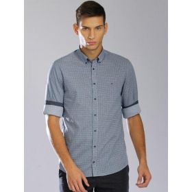 Tommy Hilfiger Men Blue Printed New York Shirt