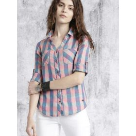 Roadster Women Regular Fit Checked Casual Shirt