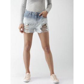 FOREVER 21 Women Blue Solid Denim Shorts