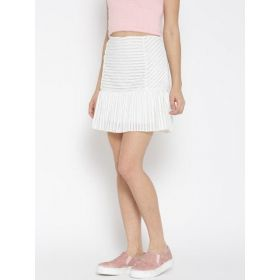 DressBerry White Pleated Skirt