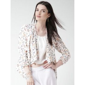 New Look Floral Print White Polyester Front Open Blazer