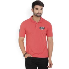 Sport Solid Men's Polo Neck Red T-Shirt
