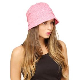 FabSeasons Pink Cloche Embroidered Hat