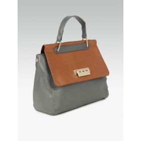 20Dresses Colourblocked Grey & Brown Satchel