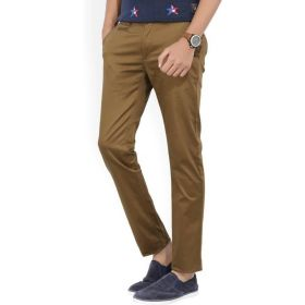 Peter England Men's Brown Trousers