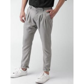 Adidas Men Grey Tapered Fit Solid Casual Trousers