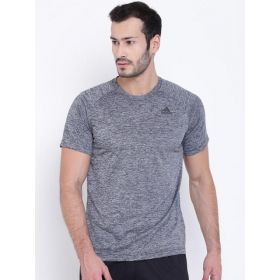 Adidas Men Grey Design Solid Round Neck T-shirt