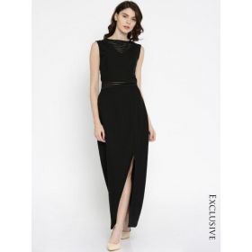 RARE Women Fashion Black Solid Maxi Dress