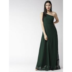 Rare Women Green Solid One Shoulder Maxi Dress